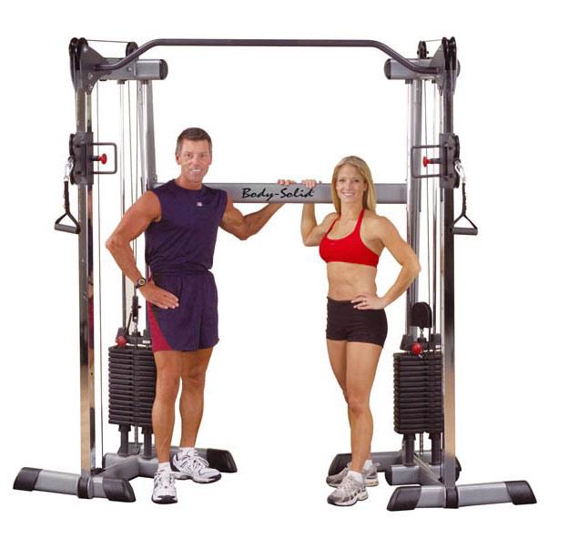 Кроссоверы и блочные стойки Body Solid GDCC200, Сдвоенная блочная стойка с двумя весовыми стеками по 72.5 кг