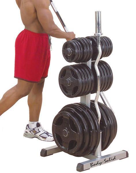 Стойки под диски, грифы и штанги Body Solid GOWT, Стойка для дисков (d=50 мм) и двух олимпийских грифов