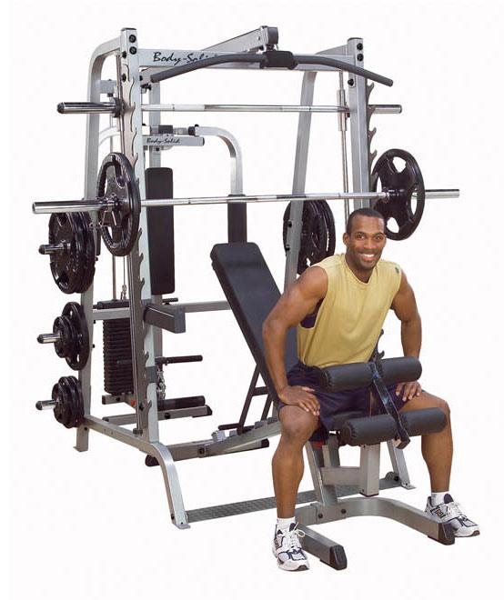 Многофункциональные тренажёры на свободных весах Body Solid GS348QP4, Многофукциональный тренажёр на базе 348 машины Смита GS348Q