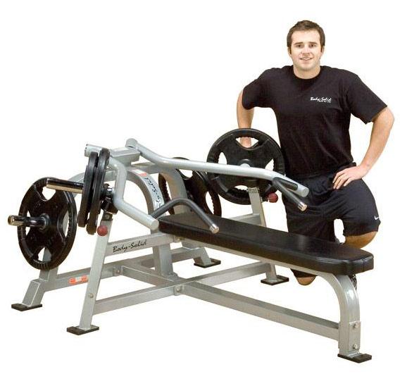 Тренажёры для мышц груди Body Solid LVBP, Горизонтальный жим лежа (свободные веса), линия Leverage