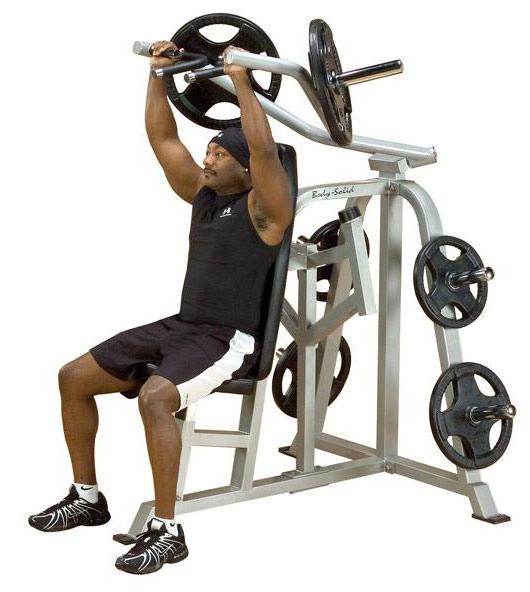 Тренажёры для мышц плечевого пояса Body Solid LVSP, Вертикальный жим сидя (свободные веса), линия Leverage