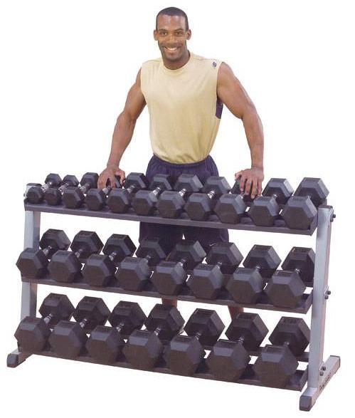 Гантельные ряды профессиональные, неразборные Body Solid SDRS550, Набор гантелей, 10 пар от 2,25 кг до 22,5 кг