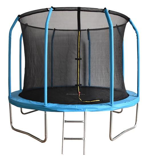 Батуты с защитной сеткой, диаметром от 3-х до 4-х метров BondySport Батут 12 ft (3.66 м) с сеткой и лестницей (синий), BS12FTBL