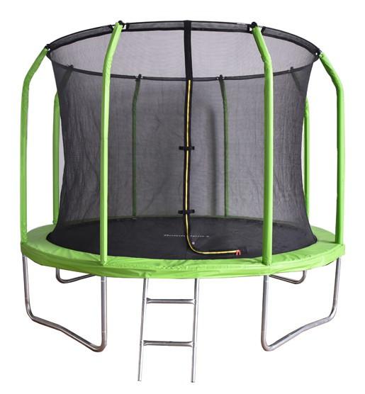 Батуты с защитной сеткой, диаметром от 3-х до 4-х метров BondySport Батут 10 ft (3.05 м) с сеткой и лестницей (зелёный), BS10FTGR