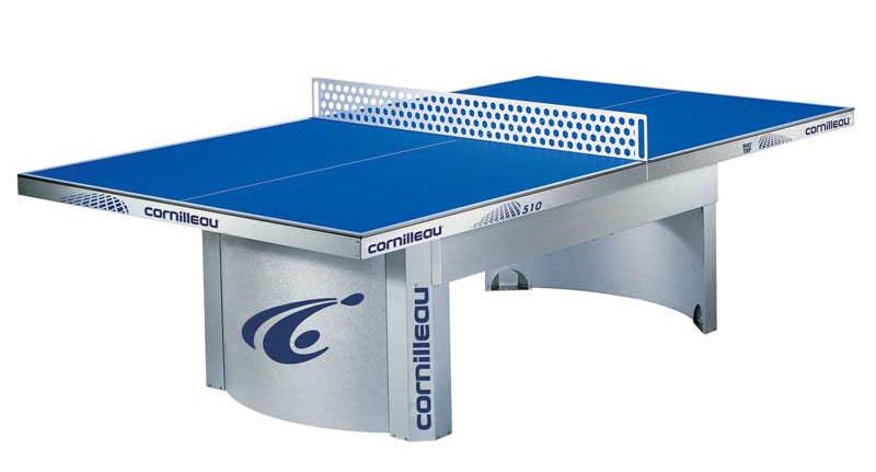 Всепогодные и влагостойкие теннисные столы Cornilleau 125115, Всепогодный теннисный стол антивандальный Про 510 Аутдор (Pro 510 Outdoor) с сеткой (синий)
