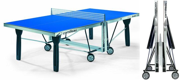 Всепогодные и влагостойкие теннисные столы Cornilleau 125415, Всепогодный теннисный стол Про 540 Аутдор (Pro 540 Outdoor) с сеткой (синий)