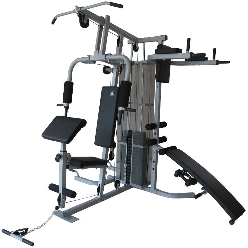 Атлетические центры с весовым стеком DFC Силовой комплекс с брусьями и скамьёй для пресса, D7005A