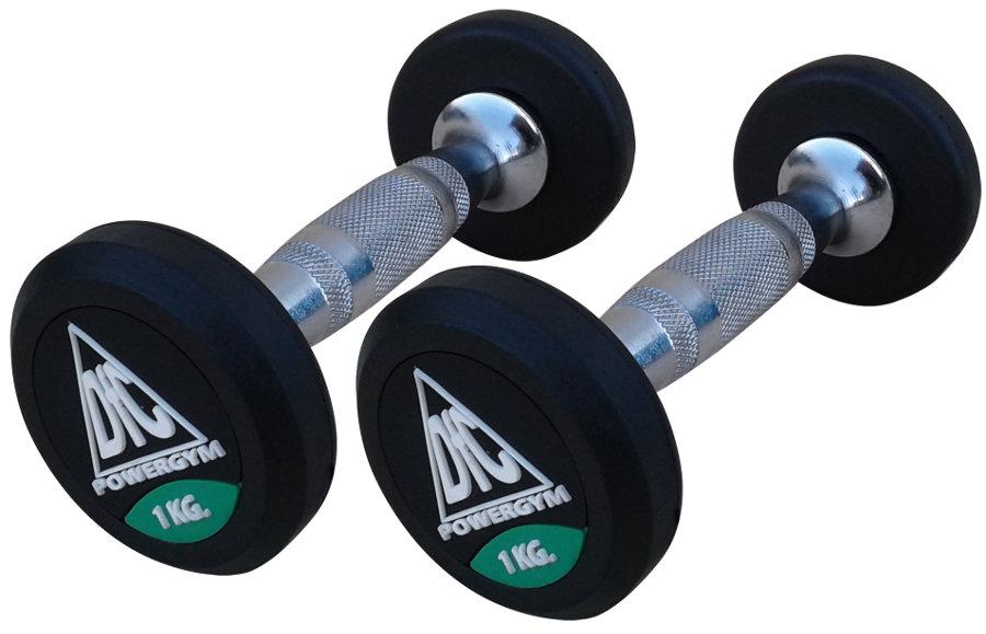 Гантельные ряды профессиональные, неразборные DFC DB002-1, Гантели 1 кг (пара), серия PowerGym
