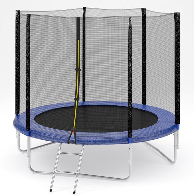 Ожидается Diamond Fitness Батут с внешней сеткой и лестницей, диаметр 8 футов (244 см), External