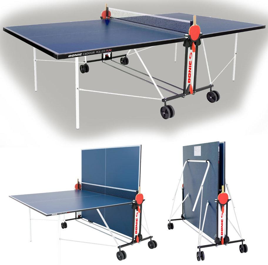 Любительские теннисные столы для внутренних помещений Donic Теннисный стол для помещений Indoor Roller Fun Blue (синий), 230235-B