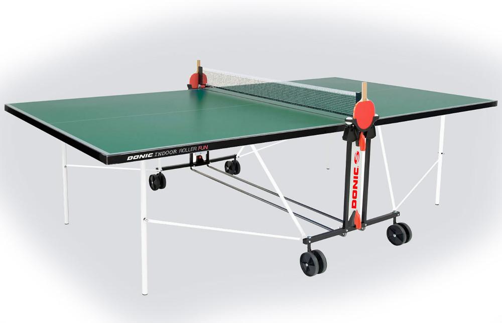 Любительские теннисные столы для внутренних помещений Donic Теннисный стол для помещений Indoor Roller Fun Green (зелёный), 230235-G