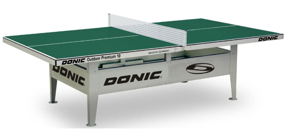 Всепогодные и влагостойкие теннисные столы Donic Теннисный стол антивандальный Outdoor Premium 10 (зелёный), 230236-G