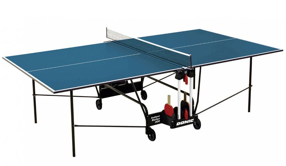 Любительские теннисные столы для внутренних помещений Donic Теннисный стол для помещений Indoor Roller 400 Blue (синий), 230284-B