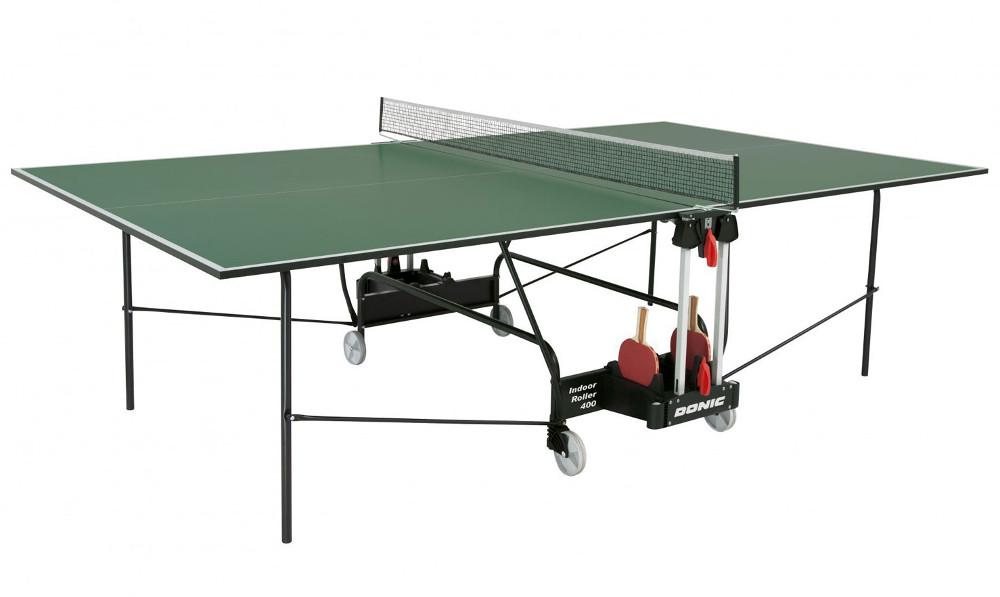 Любительские теннисные столы для внутренних помещений Donic Теннисный стол для помещений Indoor Roller 400 Green (зелёный), 230284-G