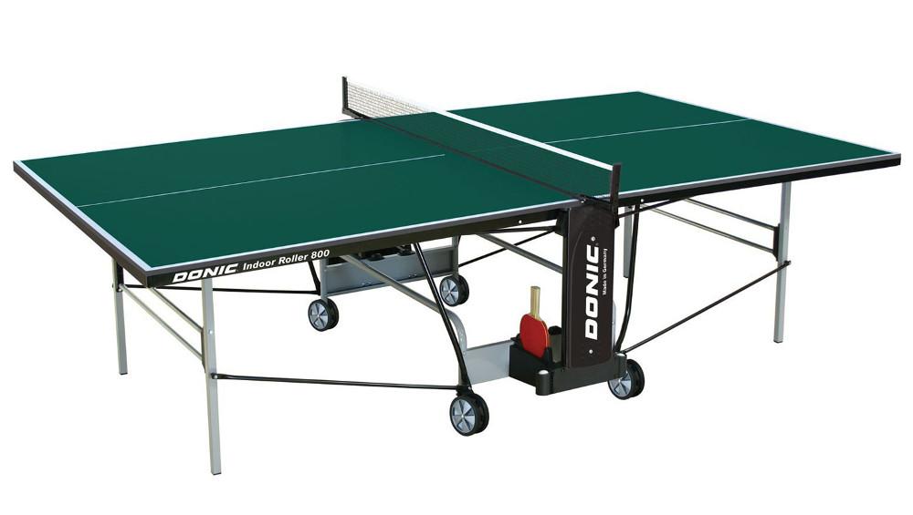 Любительские теннисные столы для внутренних помещений Donic Теннисный стол для помещений Indoor Roller 800 Green (зелёный), 230288-G