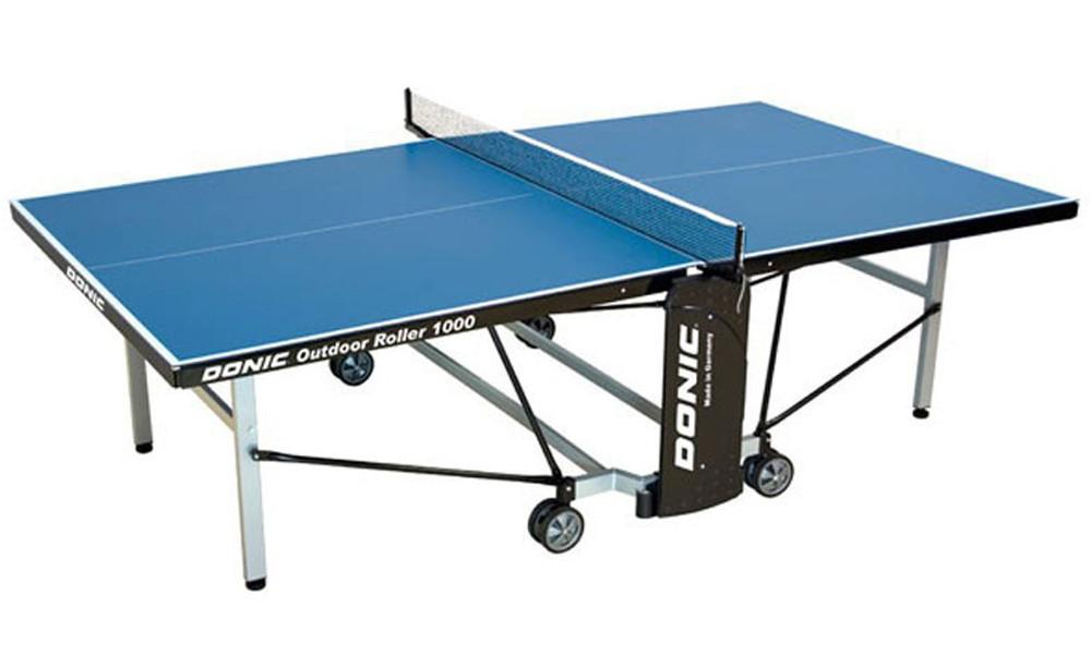 Всепогодные и влагостойкие теннисные столы Donic Теннисный стол всепогодный Outdoor Roller 1000 Blue (синий), 230291-B
