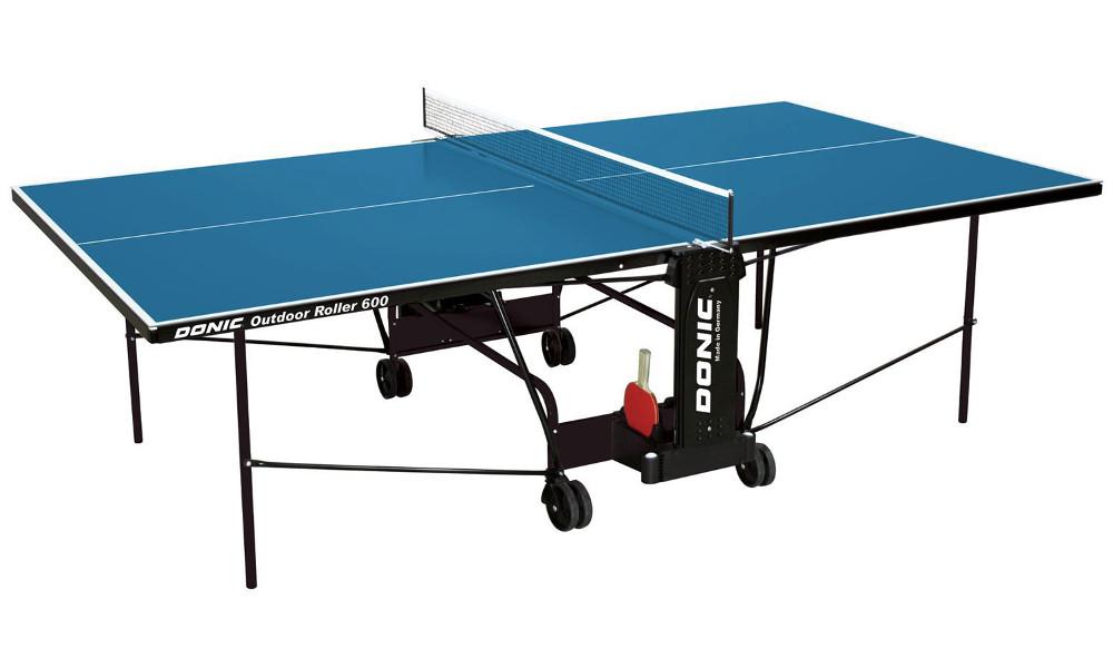 Всепогодные и влагостойкие теннисные столы Donic Теннисный стол всепогодный Outdoor Roller 600 Blue (синий), 230293-B