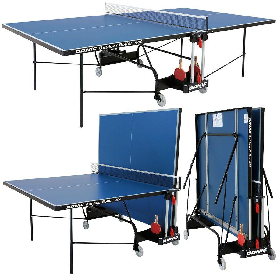 Всепогодные и влагостойкие теннисные столы Donic Теннисный стол всепогодный Outdoor Roller 400 Blue (синий), 230294-B