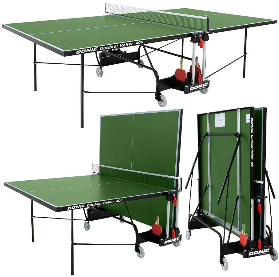 Всепогодные и влагостойкие теннисные столы Donic Теннисный стол всепогодный Outdoor Roller 400 Green (зелёный), 230294-G