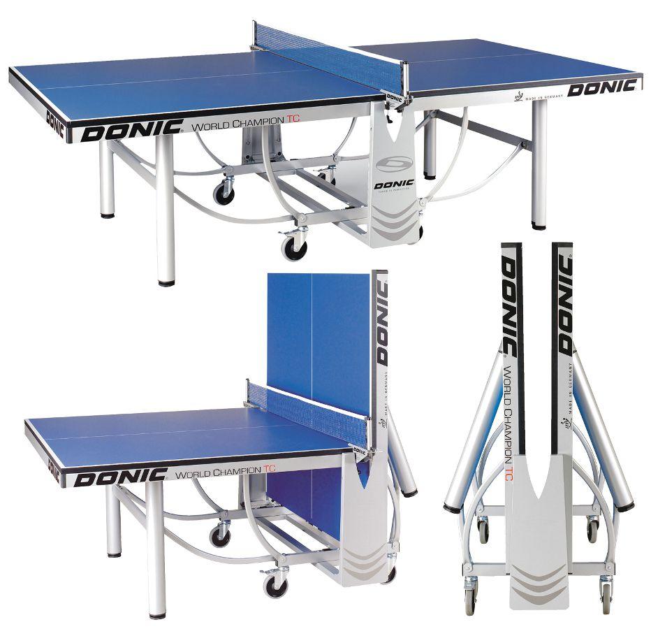 Профессиональные и тренировочные теннисные столы Donic Теннисный стол профессиональный World Champion TC Blue (синий), 400240-B