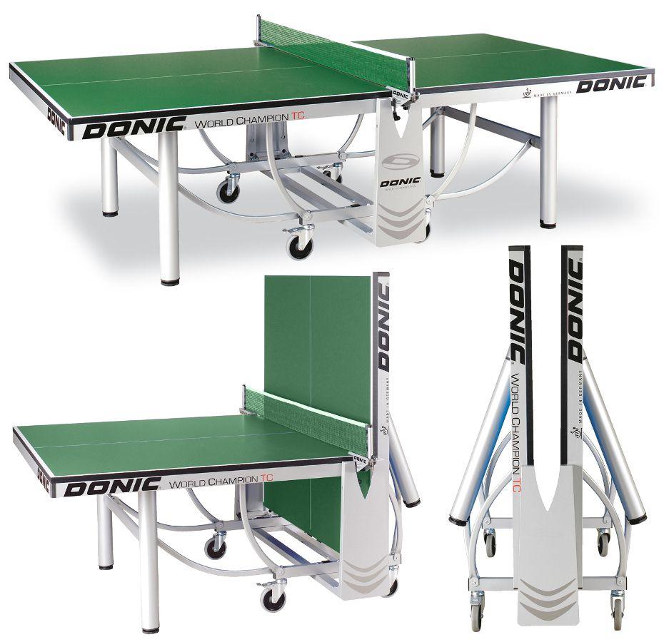 Профессиональные и тренировочные теннисные столы Donic Теннисный стол профессиональный World Champion TC Green (зелёный), 400240-G