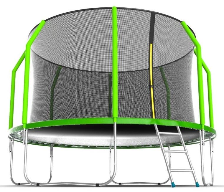 Батуты с защитной сеткой, диаметром от 3-х до 4-х метров EVO Jump Батут 12 футов с внутренней сеткой и лестницей (зелёный), Cosmo 12ft Green