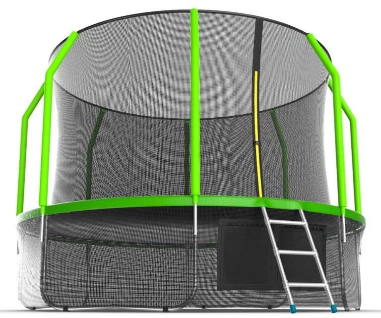 Батуты с защитной сеткой, диаметром от 3-х до 4-х метров EVO Jump Батут 12 футов с внутренней сеткой, лестницей и нижней сетью (зелёный), Cosmo 12ft Green + Lower net