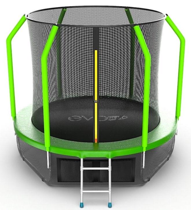 Батуты с защитной сеткой, диаметром до 3-х метров EVO Jump Батут 8 футов с внутренней сеткой, лестницей и нижней сетью (зелёный), Cosmo 8ft Green + Lower net