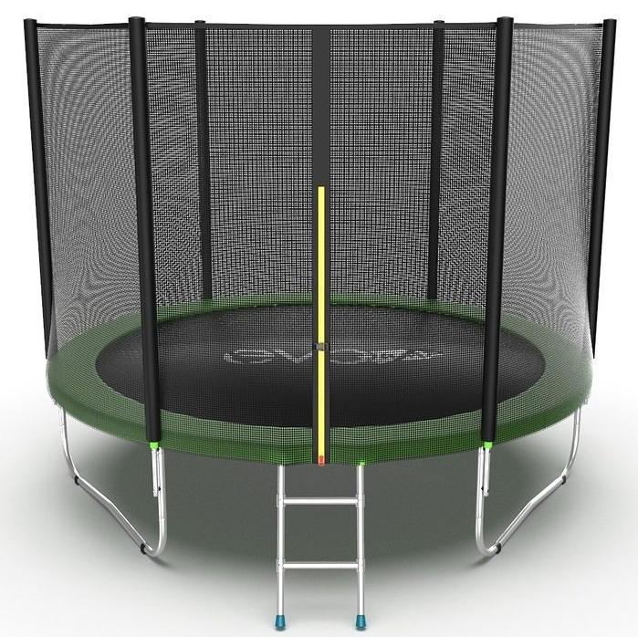 Батуты с защитной сеткой, диаметром от 3-х до 4-х метров EVO Jump Батут 10 футов с внешней сеткой и лестницей (зелёный), External 10ft Green