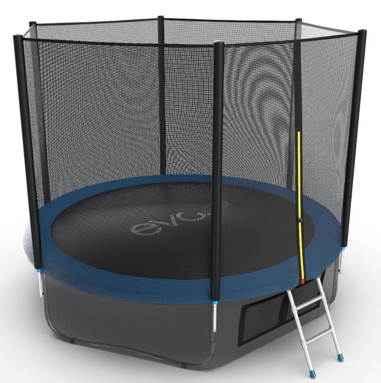 Батуты с защитной сеткой, диаметром от 3-х до 4-х метров EVO Jump Батут 10 футов с внешней сеткой, лестницей и нижней сетью (синий), External 10ft Blue + Lower net