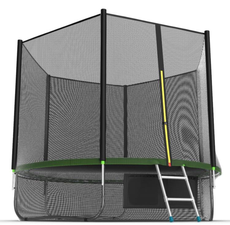 Батуты с защитной сеткой, диаметром от 3-х до 4-х метров EVO Jump Батут 10 футов с внешней сеткой, лестницей и нижней сетью (зелёный), External 10ft Green + Lower net