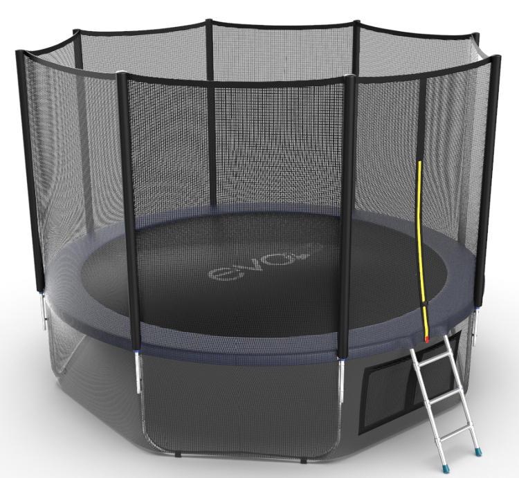Батуты с защитной сеткой, диаметром от 3-х до 4-х метров EVO Jump Батут 12 футов с внешней сеткой, лестницей и нижней сетью (синий), External 12ft Blue + Lower net