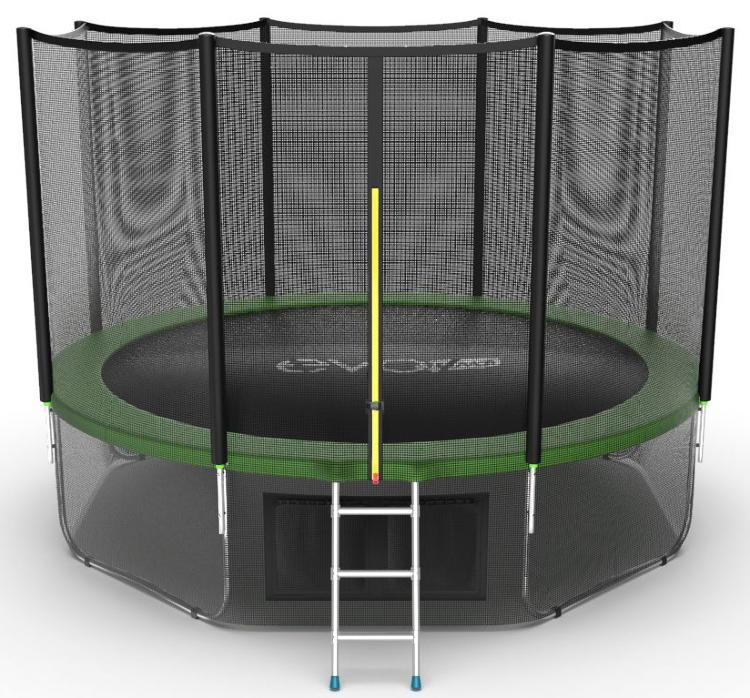 Батуты с защитной сеткой, диаметром от 3-х до 4-х метров EVO Jump Батут 12 футов с внешней сеткой, лестницей и нижней сетью (зелёный), External 12ft Green + Lower net