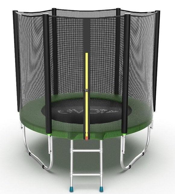 Батуты с защитной сеткой, диаметром до 3-х метров EVO Jump Батут 6 футов с внешней сеткой и лестницей (зелёный), External 6ft Green
