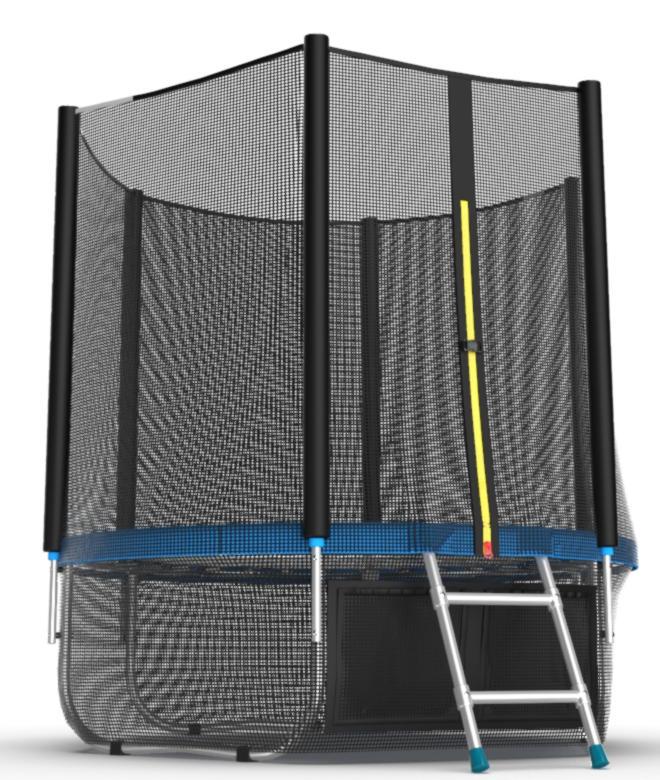 Батуты с защитной сеткой, диаметром до 3-х метров EVO Jump Батут 6 футов с внешней сеткой, лестницей и нижней сетью (синий), External 6ft Blue + Lower net