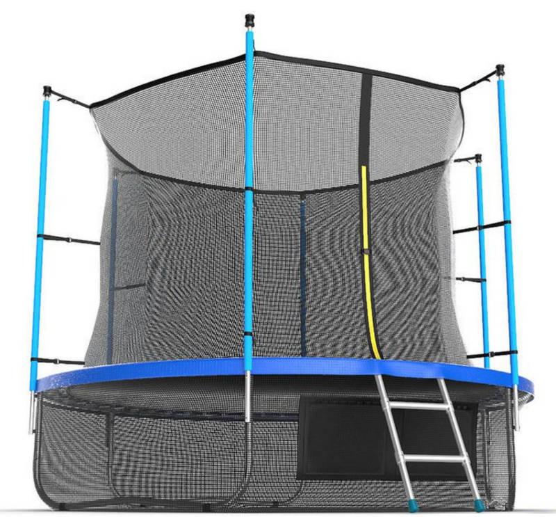Батуты с защитной сеткой, диаметром от 3-х до 4-х метров EVO Jump Батут 10 футов с внутренней сеткой, лестницей и нижней сетью (синий), Internal 10ft Blue + Lower net