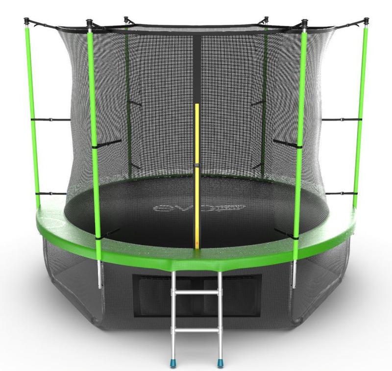 Батуты с защитной сеткой, диаметром от 3-х до 4-х метров EVO Jump Батут 10 футов с внутренней сеткой, лестницей и нижней сетью (зелёный), Internal 10ft Green + Lower net