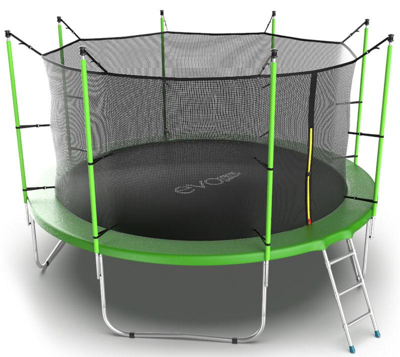 Батуты с защитной сеткой, диаметром от 3-х до 4-х метров EVO Jump Батут 12 футов с внутренней сеткой и лестницей (зелёный), Internal 12ft Green