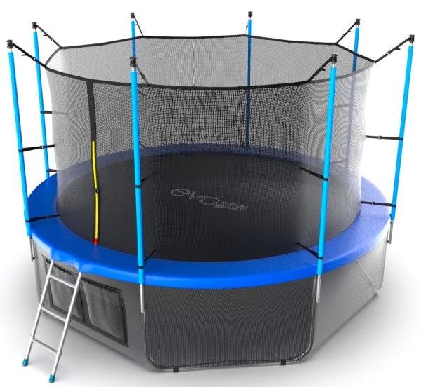 Батуты с защитной сеткой, диаметром от 3-х до 4-х метров EVO Jump Батут 12 футов с внутренней сеткой, лестницей и нижней сетью (синий), Internal 12ft Blue + Lower net