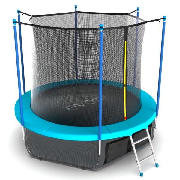 Батуты с защитной сеткой, диаметром от 3-х до 4-х метров EVO Jump Батут 10 футов с внутренней сеткой, лестницей и нижней сетью (морская волна), Internal 10ft Wave + Lower net