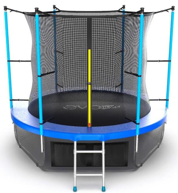 Батуты с защитной сеткой, диаметром до 3-х метров EVO Jump Батут 8 футов с внутренней сеткой, лестницей и нижней сетью (синий), Internal 8ft Blue + Lower net