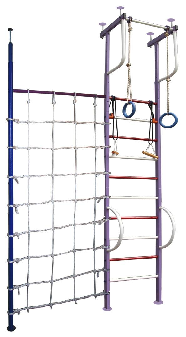 Г-образные комплексы (крепление враспор) Вертикаль (ГранВиС) ДСК Вертикаль-3.1+, Г-образный с дополнительной стойкой и канатной сеткой, широкие перекладины (высота потолка от 2,5 до 2,95 метров)