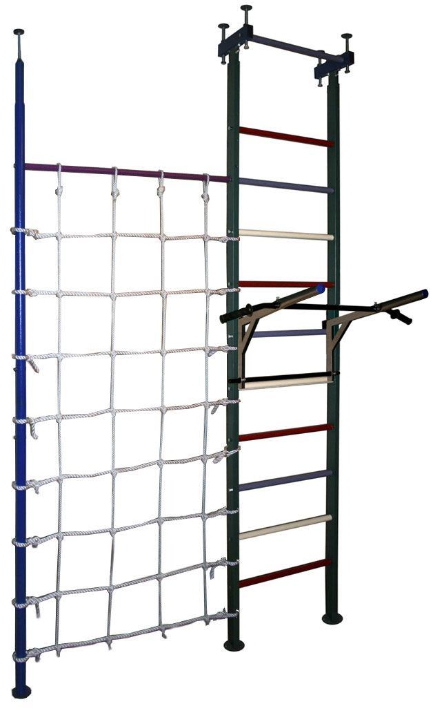 Шведские стенки (крепление враспор) Вертикаль (ГранВиС) Вертикаль-7.1+ТБ+, шведская стенка с креплением в распор с дополнительной стойкой и канатной сеткой, широкие перекладины (высота потолка 2.5-2.95 м)