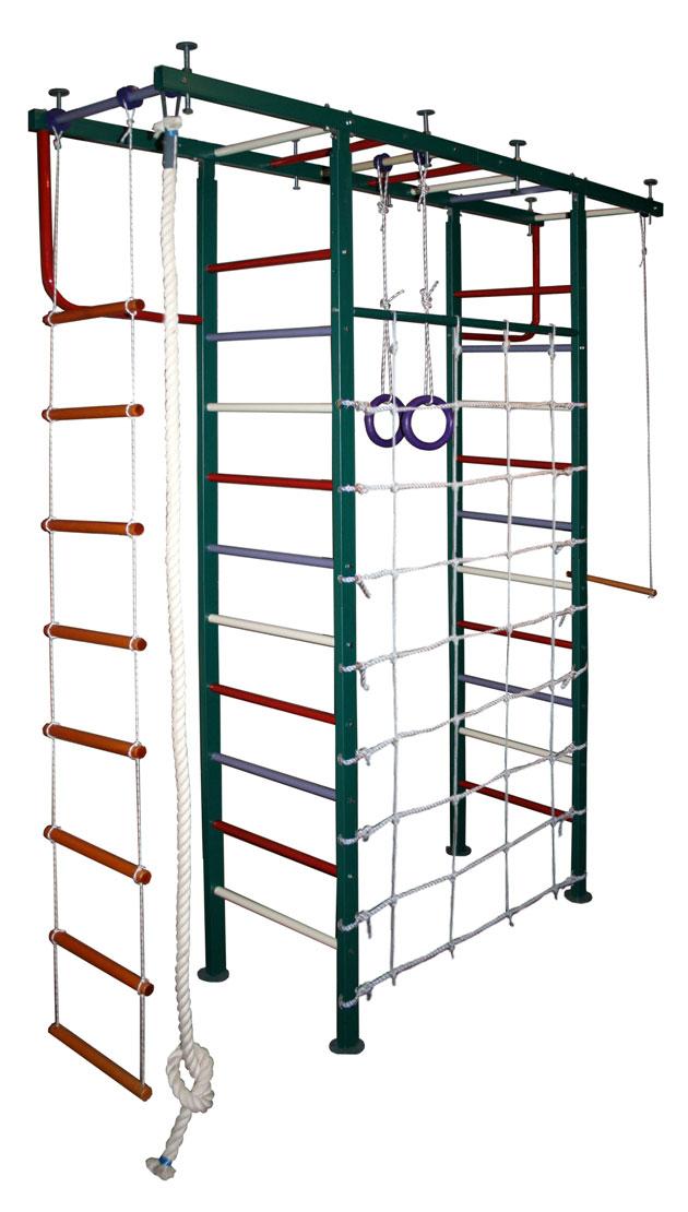 П-образные комплексы (крепление враспор) Вертикаль (ГранВиС) ДСК Вертикаль-11.1с, П-образный с канатной сеткой, широкие перекладины (высота потолка от 2,5 до 2,95 метров)