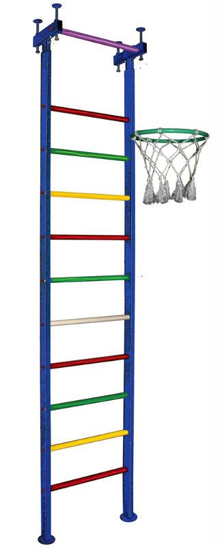 Шведские стенки (крепление враспор) Вертикаль (ГранВиС) Вертикаль-6.1, шведская стенка с креплением в распор, широкие перекладины (высота потолка 2.5-2.95 м)