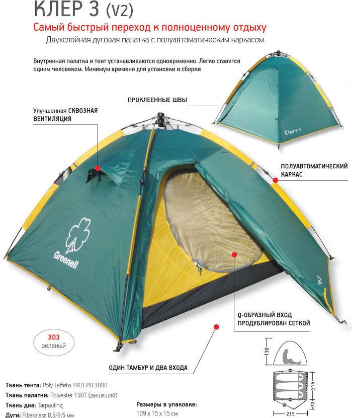 Палатки классические и походные Greenell 95280, Палатка туристическая