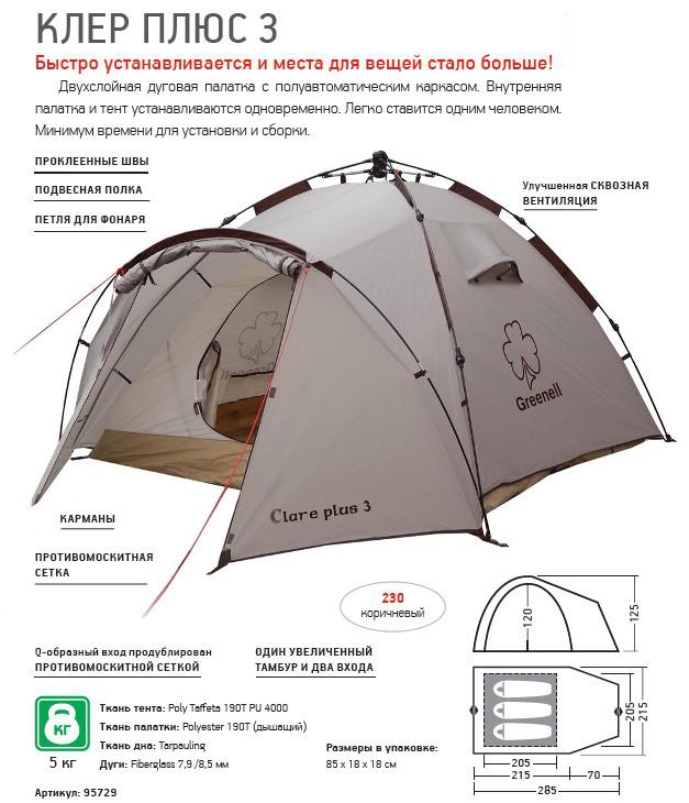 Палатки классические и походные Greenell 95729, Палатка туристическая