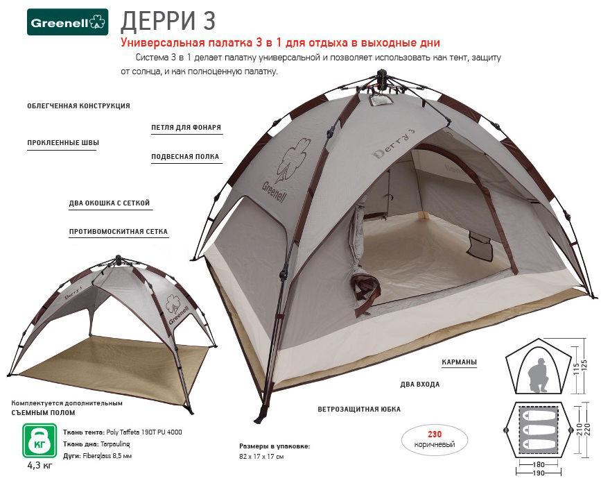 Палатки классические и походные Greenell 95731, Палатка туристическая