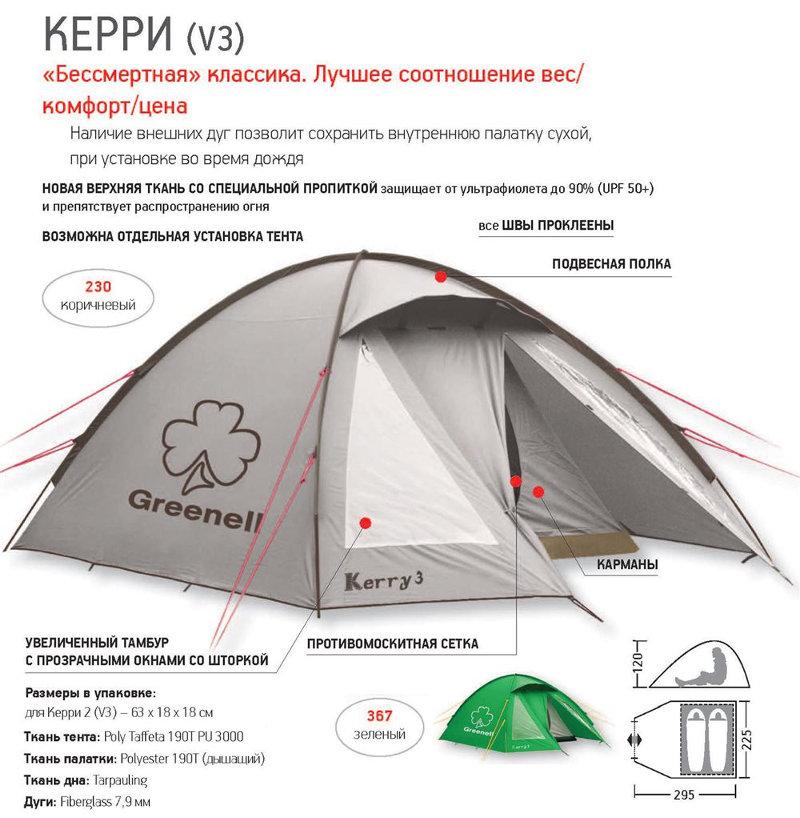 Палатки классические и походные Greenell 95511, Палатка туристическая дуговая