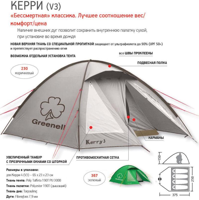 Палатки классические и походные Greenell 95513, Палатка туристическая дуговая